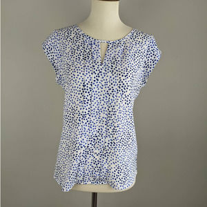 Express XS Keyhole Blouse White Blue Abstract